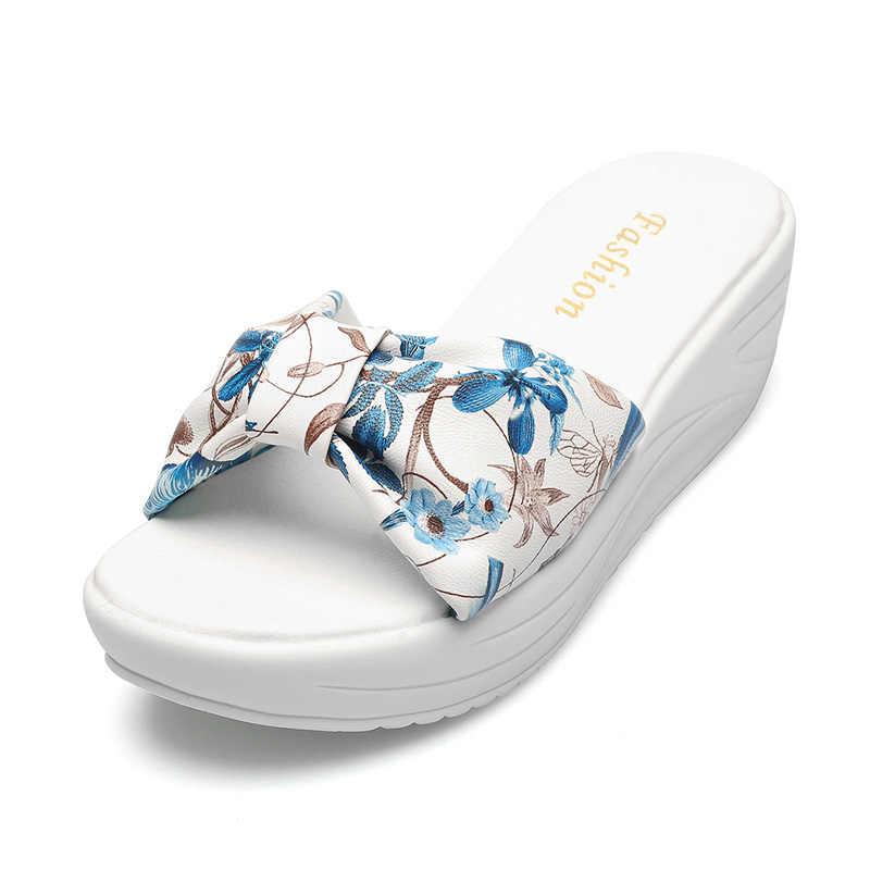 Plardin Echt Leer Bohemen Zomer Casual Leisure vrouwen Platform Sandalen Wiggen Strand Schoenen Vrouw dames schoenen Slippers