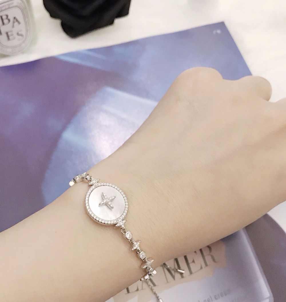ZOZIRI 925 стерлингового серебра круглая ракушка диск звезда браслет, monaco дизайн кубический циркон искусство маленькие подвески звезда кристалл искусство браслеты