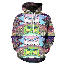 2018 hoodiesmen new fashion funny Rick and morty hoodies 3D Hip hop anime men Set of head Unlined upper garment(China)