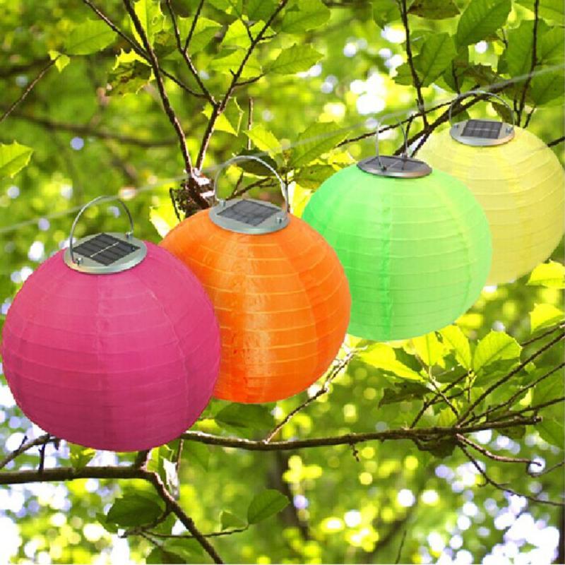 12inch LED Solar Light Waterproof Chinese Lantern Outdoors Festival Wedding Party Garden Hanging Lamp Light Decor