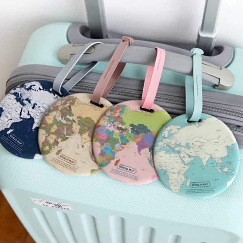 Etiqueta para equipaje con mapa de moda, accesorios de viaje para mujer, Maleta de Gel de sílice, soporte de dirección de identificación, etiqueta para equipaje, etiqueta portátil para equipaje
