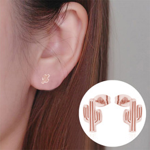 Rinhoo Minimalist Stainless Steel Stud Earrings Women Gold Silver Cute Animal Pineapple Cactus Cat Jewelry