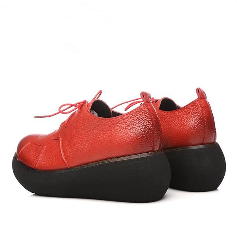 1845 Genuino Cuñas Negro Altos Tacones Cm De Zapatos Nuevo 6 Plataforma Cuero rojo Mujeres Retro Los Las Cuculus Respirables Moda Cómodos fUXq6