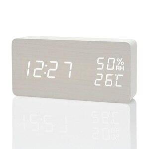 Image 3 - Reloj despertador LED Simple y moderno fibisonico reloj De mesa con Control De sonido electrónico y temperatura De humedad