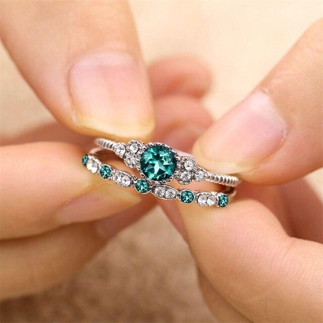2 cái/bộ pha lê vòng mới màu xanh lá cây/màu xanh zircon nhẫn thời trang rhinestone nhẫn đính hôn wedding trang sức 2018 sản phẩm mới