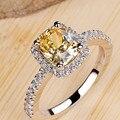 Стерлингового серебра 925 кольца для женщин Супер флэш 2 карат большой желтый CZ алмазные обручальные Кольца женщины ювелирные изделия платиновым покрытием