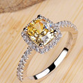 925 sterling silver rings for women Super flash 2 carat big yellow CZ diamond wedding Rings women jewelry platinum plated