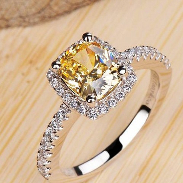 925 sterling silver rings for women Super flash 2 carat big yellow Cubic Zircon
