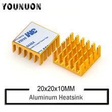 10Pcs YOUNUON Golden 20mm x 20mm x 10mm Gold Heatsink Cooling Fin Aluminum Heat Sink Radiator Cooler Black Heatsink 20*20*10mm 40120026 aluminum heatsink radiator black 37 x 37 x 3mm