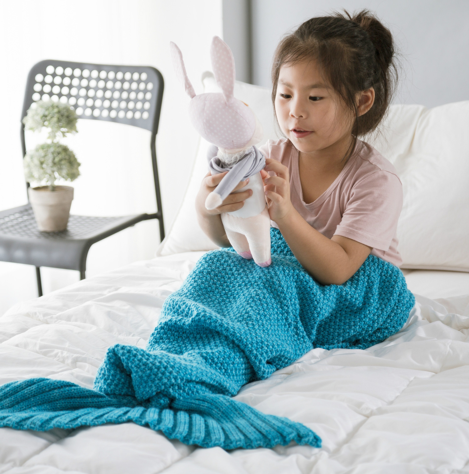 70x140cm Kid Mermaid Blanket Yarn Knitted Mermaid Tail Blanket Handmade Crochet Mermaid Blanket Throw Bed Wrap Soft Sleeping Bag