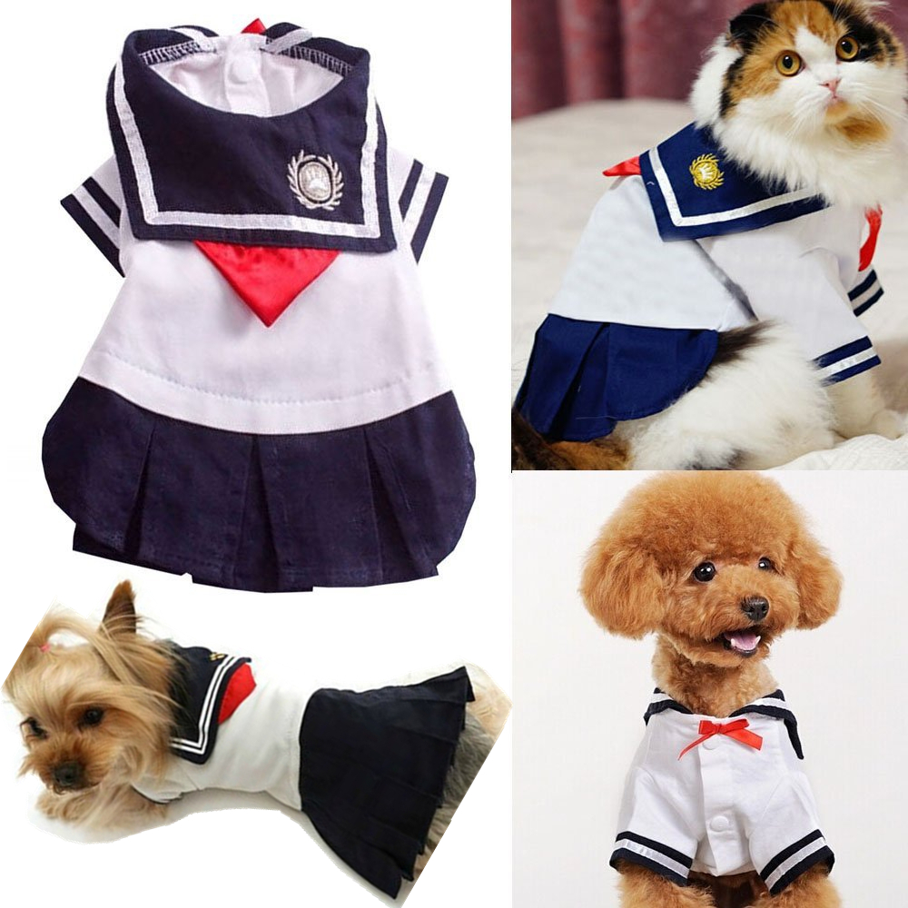 Cute Pet Cat Clothes For Small Cat Costumes Clothes Shirt Cat Dress Skirt Summer Short Sleeve Pets Chihuahua York Supply 30 S1
