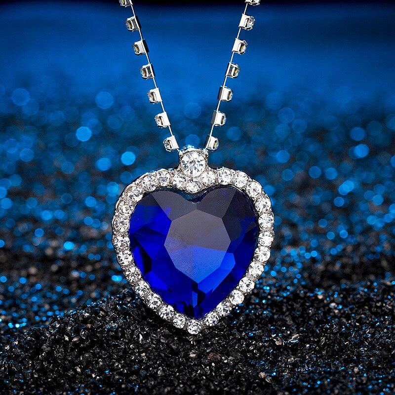Pingente de cristal coração colar clássico titanic oceano cristal coração pingente colar strass amante presente