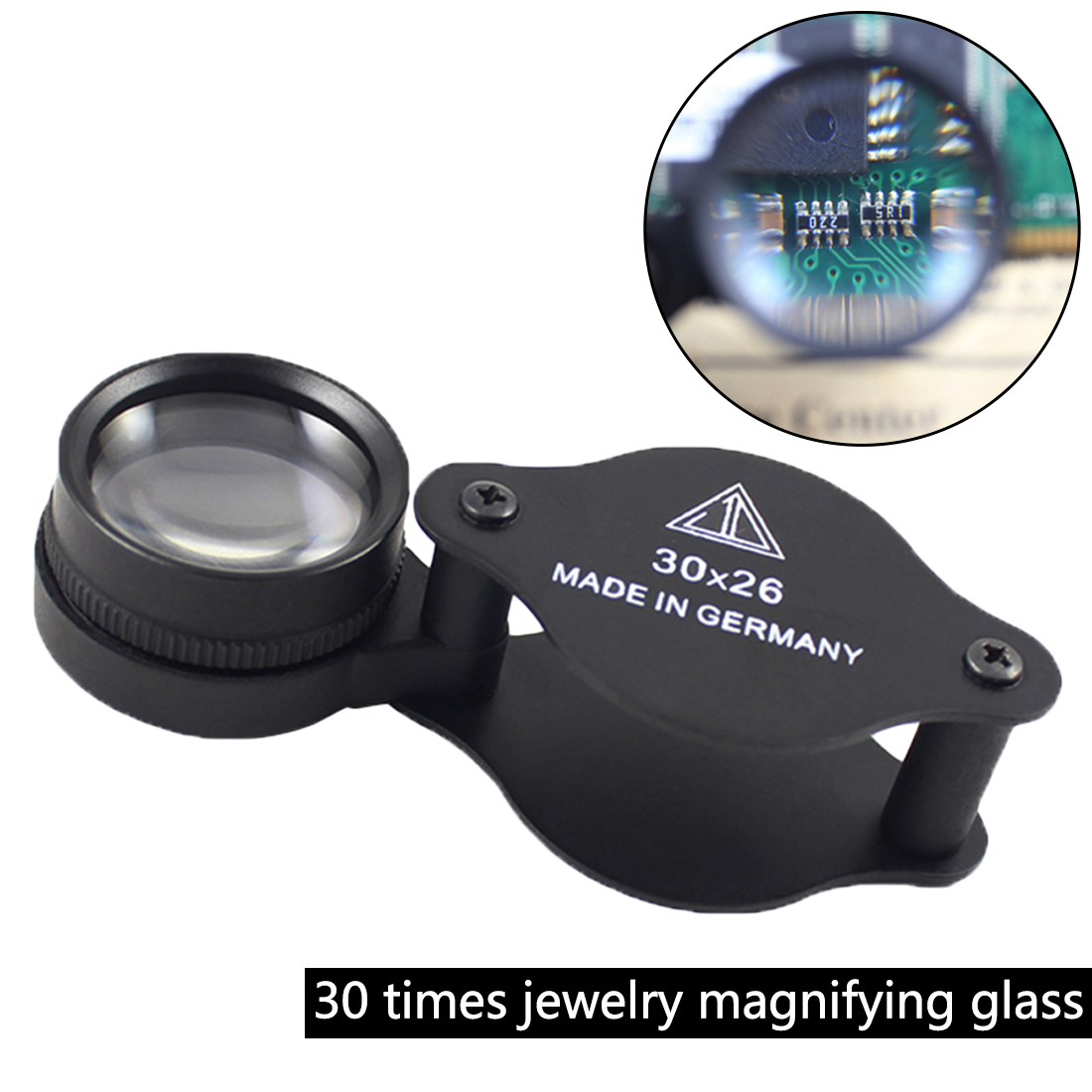 Hot sale 1pc 30x26mm Jeweler Optics Loupes Magnifier Glass Magnifying Lens Microscope For Coins Stamps Jewelry Lupe