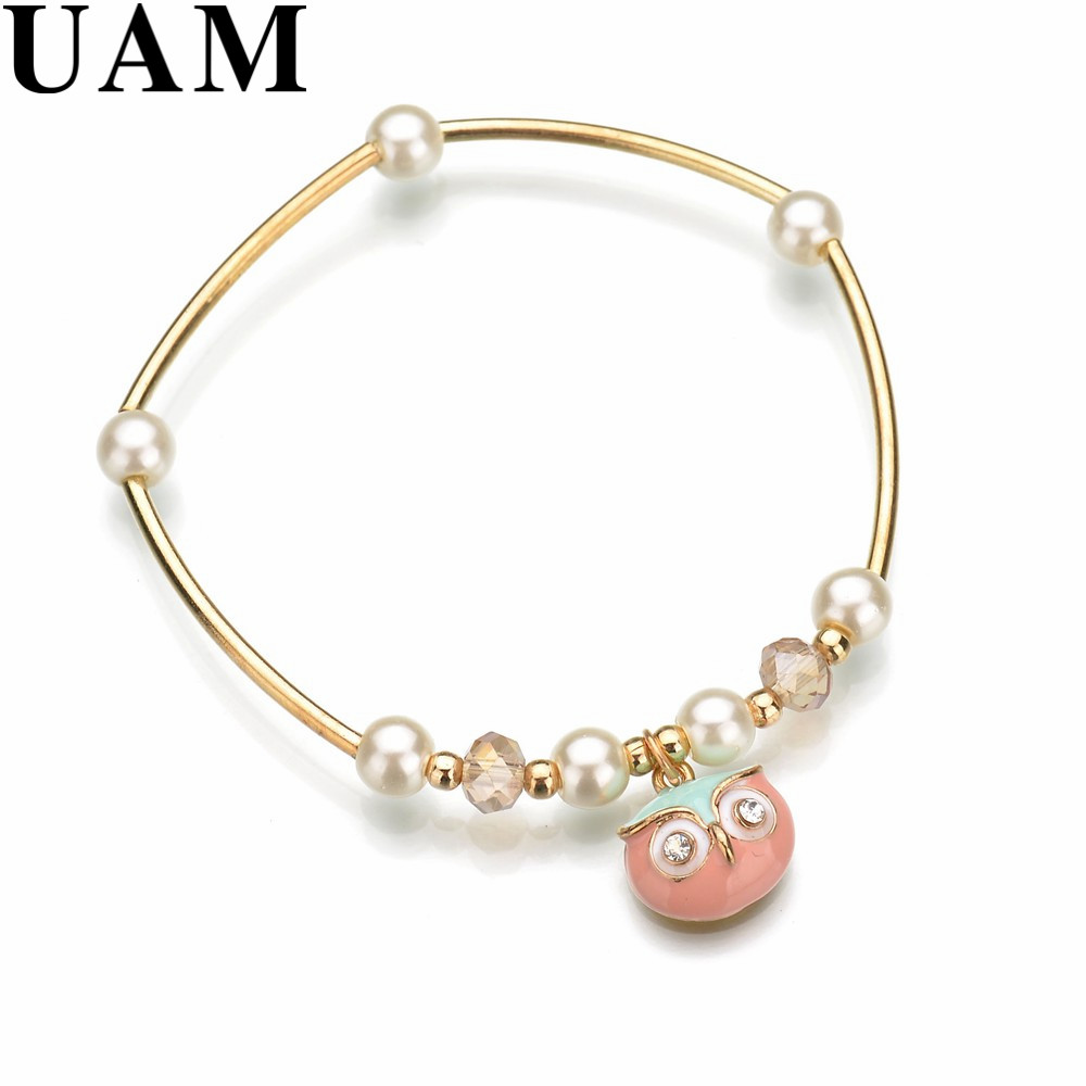 Uam Trendy Small Pink Owl Charm Bracelet For Women Mujer Femme Gold Color  Korean Style Simulated