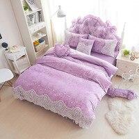 Set capa de edredão rendas de lã grossa de inverno meninas conjunto de cama completo rainha king size roxo bege colcha roupa de cama macia e quente conjunto
