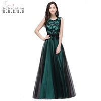 Black Long Mermaid Evening Dresses Gowns Satin Appliques Lace Beaded Party Dresses 2017