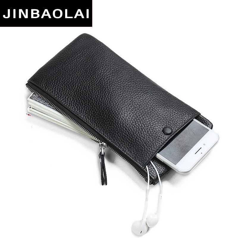 2017 Thin Genuine Leather Wallet Long Purse Fashion Solid Cowhide Leather Card Holder Clutch Casual zipper