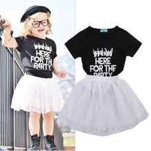 Girls 2Pcs Summer Set Toddler Baby Kids Outfits Clothes Children Girl Letter T-shirt Tops+Party tutu Skirt sets 2-7Y 2019 2016 new 2pcs toddler baby girls infant outfits tops t shirt skirt dress kids clothes set tracksuit for girls clothing sets