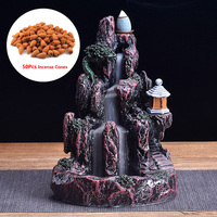 Ceramic Mountain Decor LED Waterfall Smoke Backflow Incense Cone Holder +50 Cone