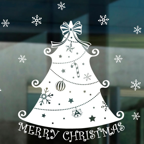 DCTAL Large Christmas tree glass window wall sticker decal home decor shop decoration X mas stickers xmas079