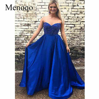 8fc132763 2019 Royal Blue Prom Dresses Long With Pockets Beaded Sweetheart Satin A  Line Formal Evening Party