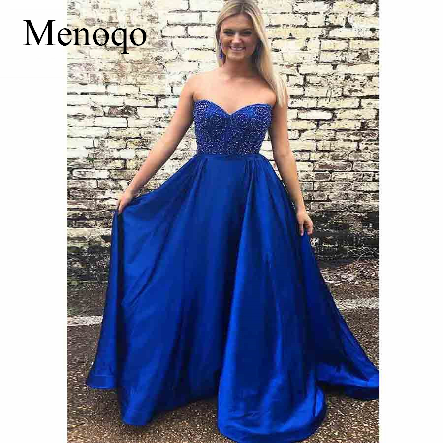 2019 Royal Blue   Prom     Dresses   Long with Pockets Beaded Sweetheart Satin A-Line Formal Evening Party   Dress   for Women