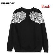 XUANSHOW 2019 Fashion Unisex Sweatshirts Long Sleeve Angel Wings Printed Fleece Pullovers Casual Female Tops Big Size S-XXL