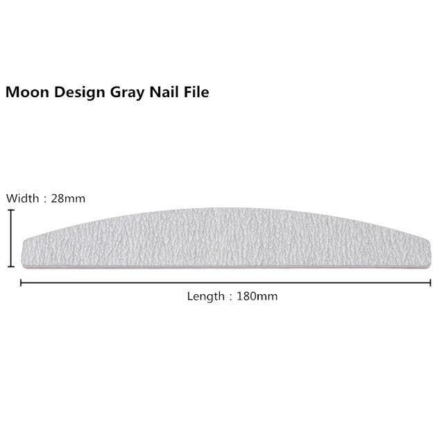 10Pcs Grey Nail File Nail Sanding File Buffing Polish Block Half Moon Strong Thick 100/180 Grits lime a ongle Manicure Nail Tool