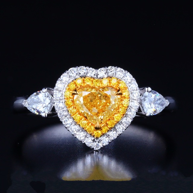 c5969971e909 Big Heart Romantic Style Luxury Ring For Women Yellow Color Hearts And  Arrows Cut Top Quality