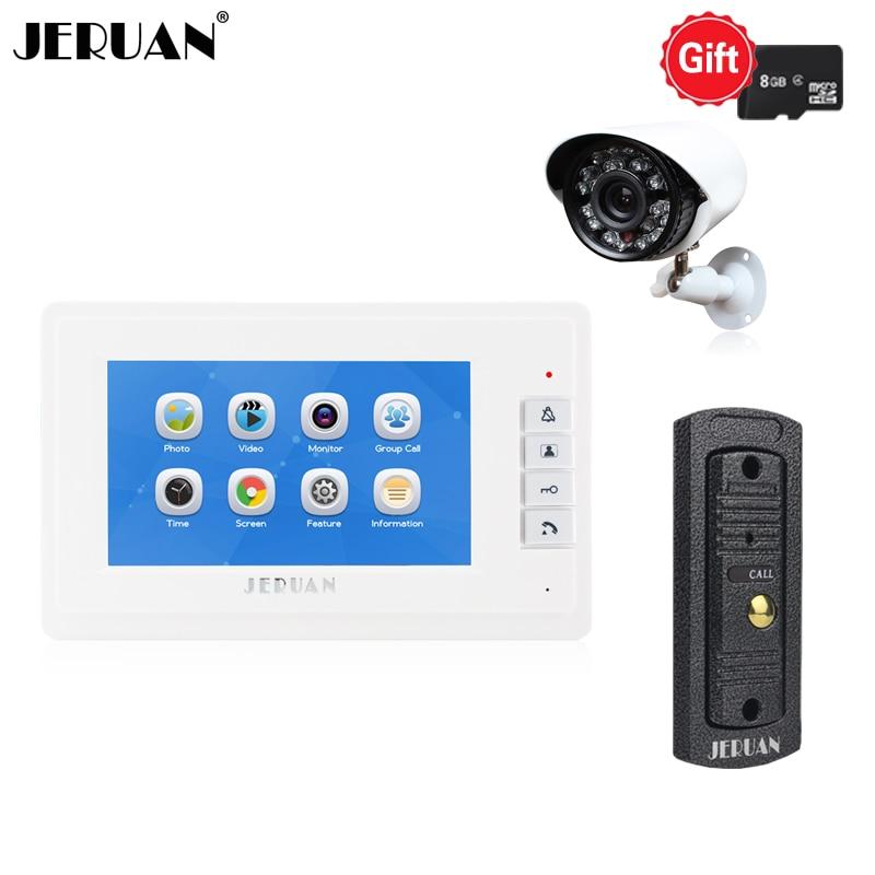 JERUAN 7`` LCD Video Door Phone Doorbell Record Intercom System Kit Metal Waterproof IR Mini Camera+8GB TF Card +HD Camera