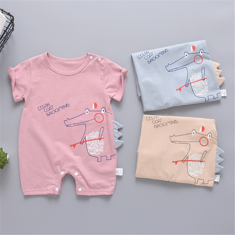 Summer baby clothes New born unisex   rompers   Short sleeve cute solid bodysuit Cartoon Printed Jumpsuit Climbing Clothes