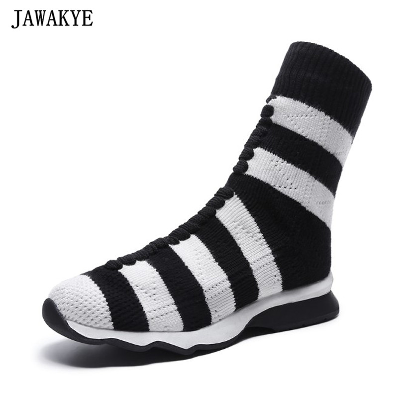 New Design Classic flat Heels Elastic Ankle Boots for Women stripe Knitted short Boots platform casual sock Shoes booties mujer casual metal and flat heel design short boots for women
