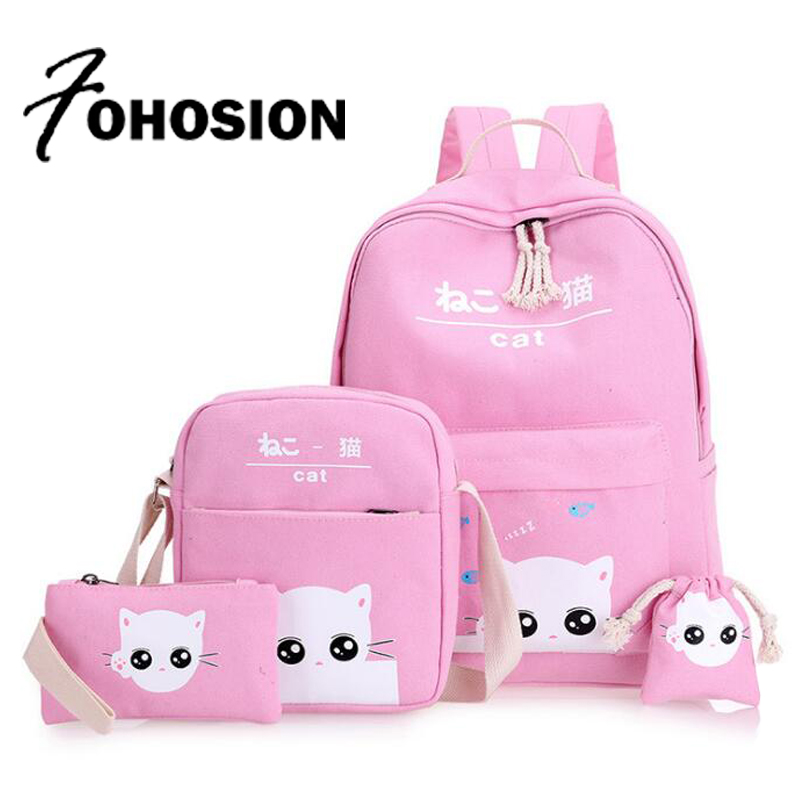 pink cat travel Backpack Set Canvas Printing Backpack Women Cute Lightweight Bookbags Middle High School Bags for Teenage Girls tourit 2016 new canvas printing backpack women school bags for teenage girls cute bookbags vintage laptop backpacks female