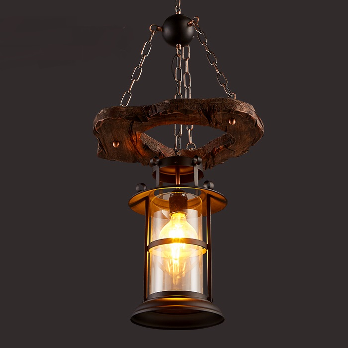 personality glass Pendant Lights cover Retro industry LOFT bar coffee restaurant creative lantern solid wood pendant lamps ZA artistic creative personality restaurant lights bar hanging lights simple honeycomb solid wood pendant lamps chandelier