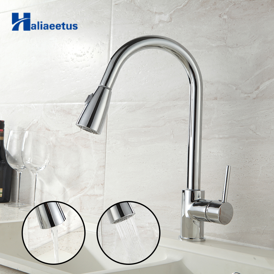Haliaeetus Pull Out Kitchen sink Faucet Flexible Kitchen Faucet Tap Hot and Cold Kitchen Mixer Tap Chrome/Brush Nickel Faucet цена и фото