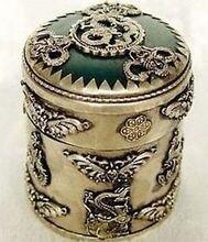 NICE CHINESE OLD Exquisite jewelry Tibet silver dragon green jade box Garden Decoration Brass Bronze