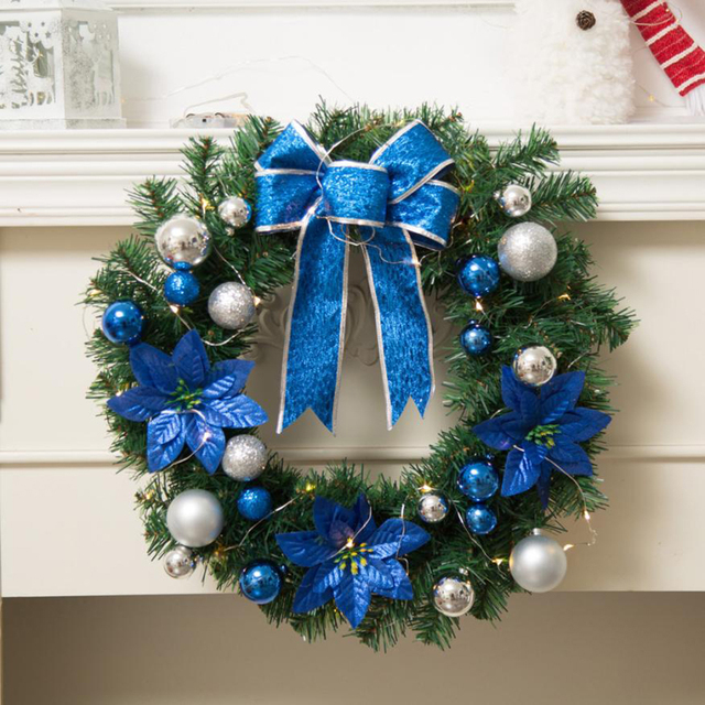 Diy Merry Christmas Wreath Garland Window Door Decorations Bowknot