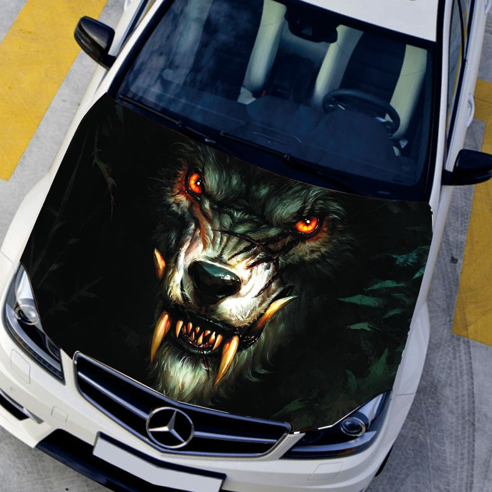 HD Inkjet Car Cover Sticker Oil Painting Style Wolf King Hood Car Decals Vehicle Accessories Auto Vynil Sticker CNS9321