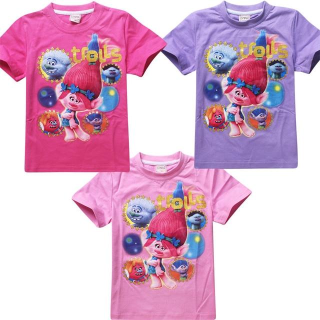 b4bbf1f94 Christmas gifts for girls clothes trolls children short sleeve t-shirt girl  & boys cartoon t shirt kids clothing cotton 4-11T