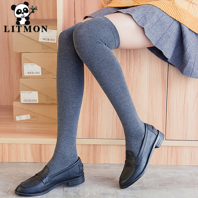 bf245b4c2b646 Litmon Stockings Knee Socks Cotton Black Grey Wine Solid Girls Thigh High  Socks Women R30 Knee Socks