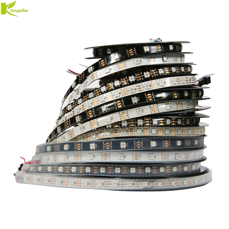 Kingoffer DC5V 1m/4m/5m WS2812b LED Strip RGB 5050 Full Color Pixel IC Digital Individually Addressable Waterproof Tape Light