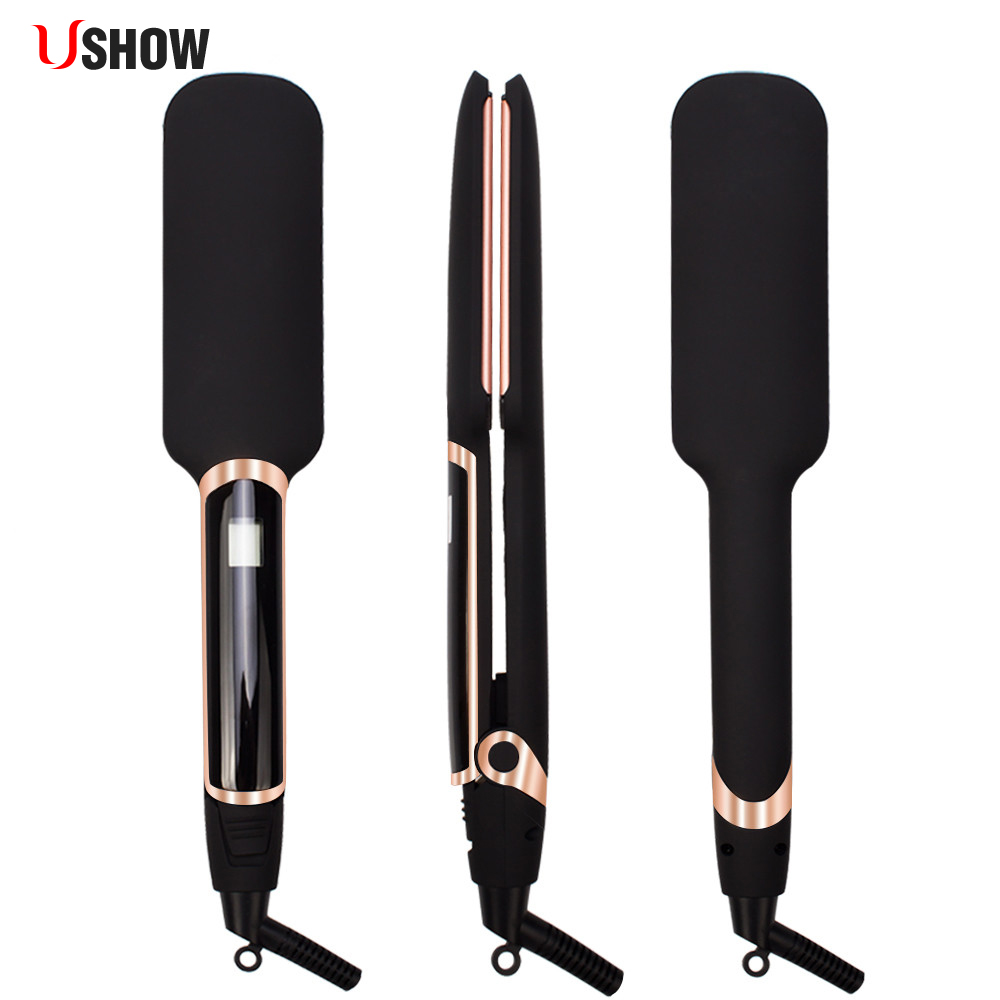 USHOW Infrared Flat Iron Wide Plates Hair Straightener MCH Fast Heating Dual Voltage Plates LCD Display Flat Hair Irons professional styling tool lcd display titanium plates straightening iron mch hair straightener high temperature fast heating