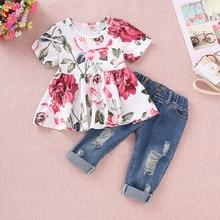 Baby Girls Floral Crop Tops+Hole Denim Pants Jean Toddler Kids Clothes Sets for girl