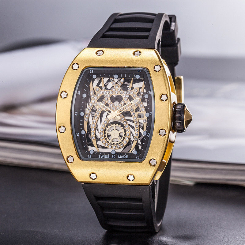 Sport Men's Luxury Brand Famous Unique Designer Quartz Watch Male Large WatchSilica Gel Es Men Relogio Masculino