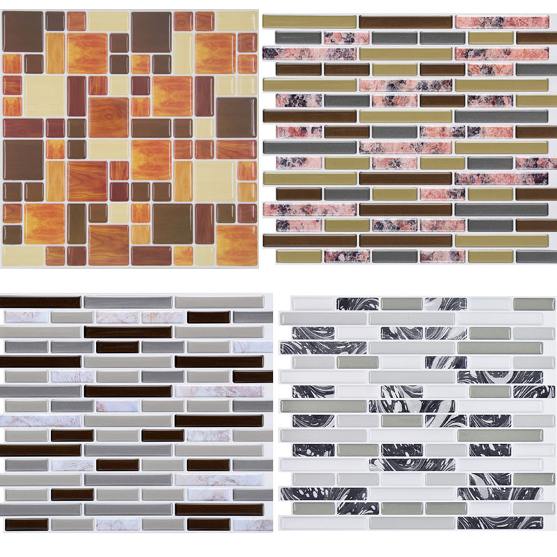 3D Self Adhesive Mosaic Tile Wall Decal Sticker Removable Irregular Tile Waterproof And Oil Proof For Kitchen Bathroom