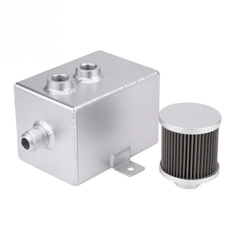 Réservoir universel de réservoir de bidon d'huile en aluminium 2L de voiture avec le Kit de filtre boîtes universelles de capture d'huile pour le moteur en aluminium de course de voiture