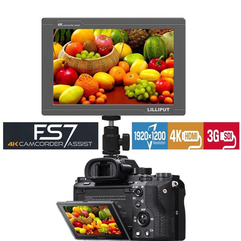 Lilliput FS7 7 polegada Full HD 1920x1200 K HDMI 3G-SDI 4 in/out On Camera Campo Monitor para ZHIYUN Guindaste 2/DJI RONIN S/FEIYU Cardan