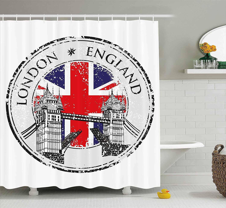 Britannico Tenda Della Doccia Londra Inghilterra Grunge Timbro con Bandiera Nazionale Nostalgico Grafici Tessuto Bagno Decor Set