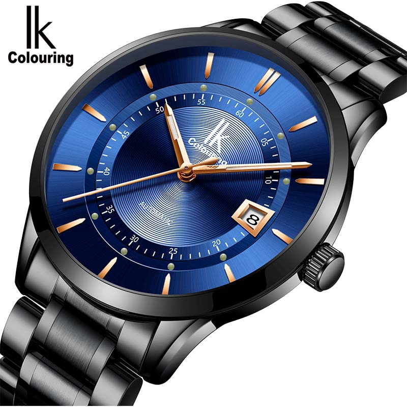 IK colouring Watches Classic Mens Date automatic Mechanical Watch Waterproof Steel Stainless Luxury Watch Men Relogio Masculino
