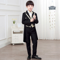 Children Formal Suit Jacket tails boys Dress Suit 5 Pieces set jacket+vest+pants +bow tie+shirts size 2years 10 years